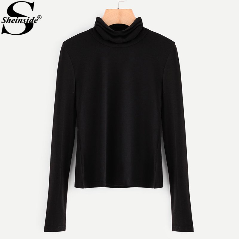Sheinside Black Turtleneck Ribbed Slim Fit T Shirt Women Long Sleeve Fall High Neck Work Wear Elegant Shirt Ladies Plain Top