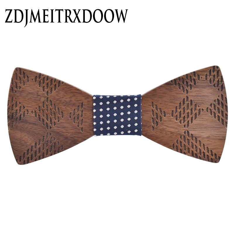 R.XIN 2017 High Quality Geometric carving wooden bow tie houten strik Bowtie Wedding Party Grooms Fashion Mens tie gravata