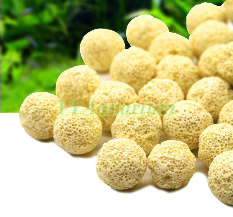 250g 21mm dia yellow ceramic ball bio porous filter media for Diy biological filter media