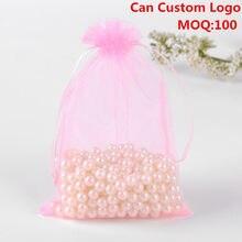 100 pçs/lote 13x18cm rosa embalagem drawable organza presente sacos & malotes embalagens para doces tule bomboniera bolsas tul