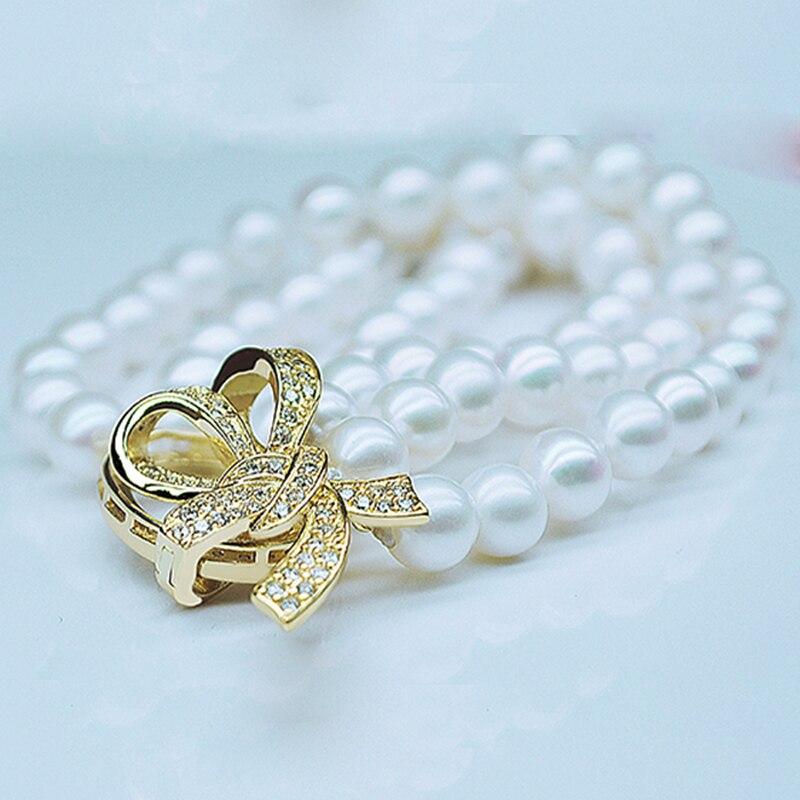 купить RUNZHUQIYUAN 2017 100% natural freshwater pearl Bracelet 7-8 mm Perfect round pearl For Women girls best gifts wedding по цене 2835.5 рублей