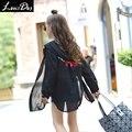 LouisDog 2016 Осень вышивка шифон рубашка подросток дети девушки тонкий с длинным рукавом с капюшоном блузка размер 6-16Y