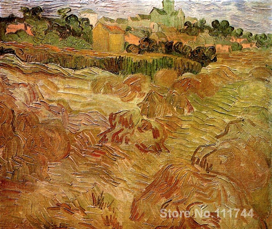 Vincent Van Gogh paintings of Wheat Fields with Auvers in the Background impressionism art High quality Hand painted