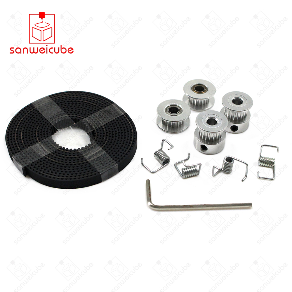 цена на 20-Tooth Spring DIY Kit Hot sale 2X GT2 Pulley 20 Teeth Bore 5mm + GT2 6mm Timing Belt & 2X Idler 4X Tensioner for belt + pulley