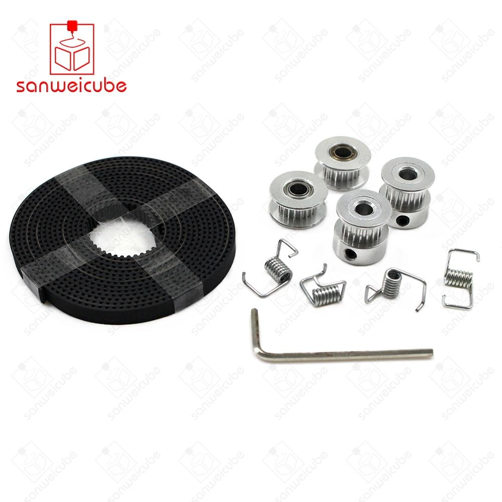 все цены на 20-Tooth Spring DIY Kit Hot sale 2X GT2 Pulley 20 Teeth Bore 5mm + GT2 6mm Timing Belt & 2X Idler 4X Tensioner for belt + pulley онлайн