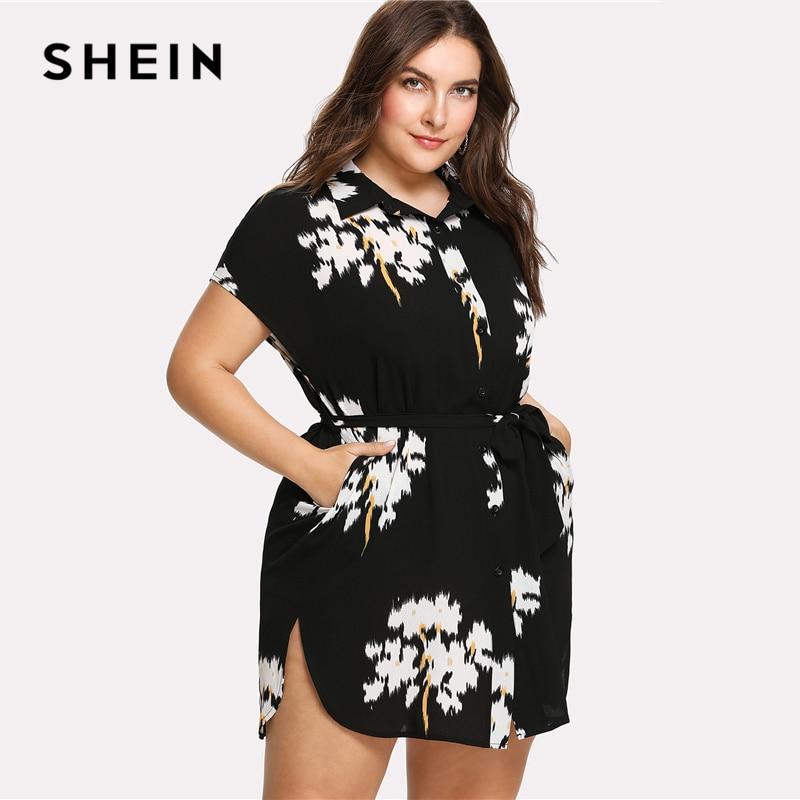 US $17.0 40% OFF|SHEIN Dolphin Hem Belted Shirt Dress Batwing Short Sleeve  Collar Neck Floral Dress Women Plus Size Black Print Straight Dress-in ...