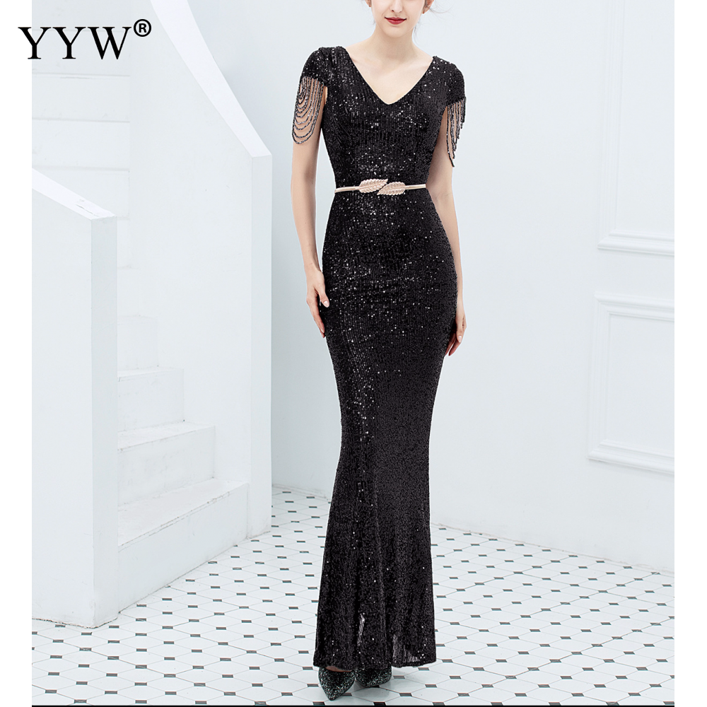 Luxury Sequined Women Evening Dress V Neck Short Sleeve Mermaid Party Gowns Short Sleeve Sexy Robe Femme Elegant Formal Dresses 5