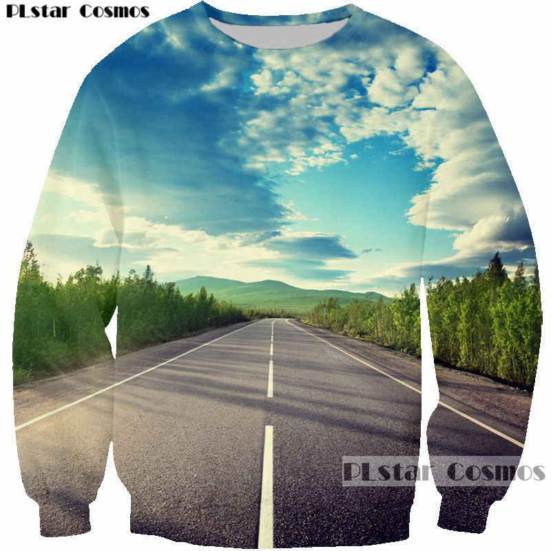 PLstar Cosmos harajuku Road Sky blue 3D printed sweatshirt pullovers Men Women sweatshirts hip hop hipster tops jumper clothing