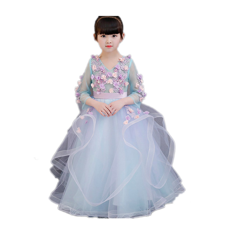 Children Girls Elegant Princess 3D Flowers Mesh Dress Model Show Kids Teens Pageant Dress Birthday Wedding Party Long Dress E143 цены онлайн