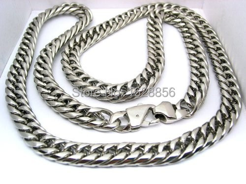 Mens Curb Cuban Link Heavy Chain Necklace Stainless Steel 316L 32 inch 11mm (3/8 inch) 150 gram - Fine jewelry Chinese shop store