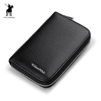 WILLIAMPOLO 2017 Brand Hot Sale Genuine Leather Unisex Card Holder Wallets Male Credit Card Holder Pillow