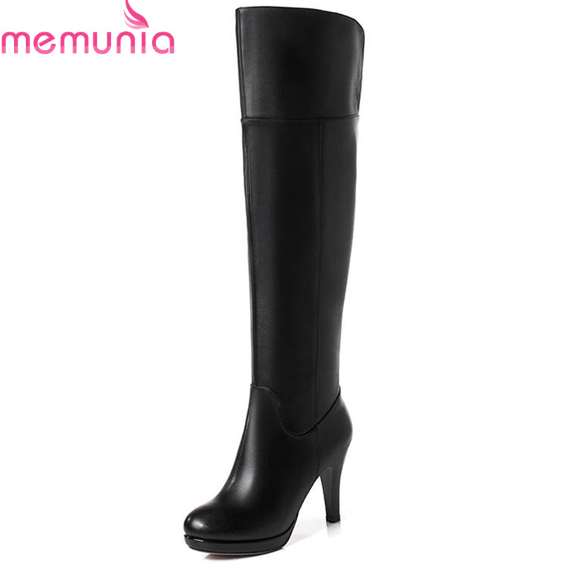 MEMUNIA 2018 hot sale genuine leather boots women round toe over the knee boots zipper autumn winter boots dress shoes woman entity assorted white tips 500 шт