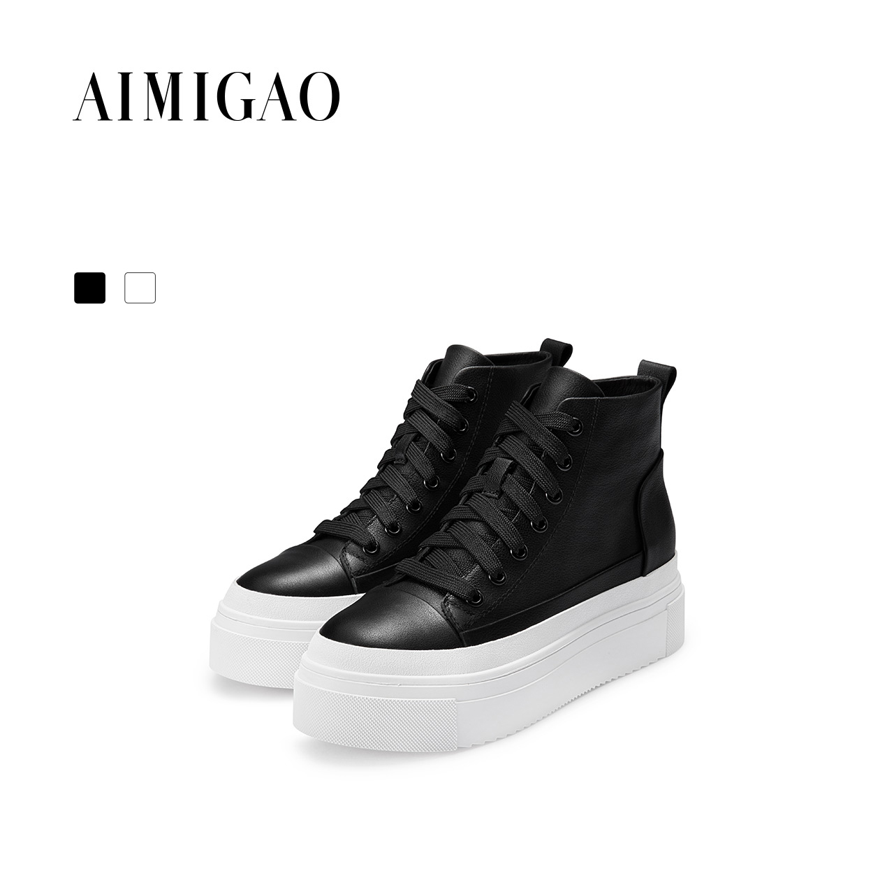 AIMIGAO Cowhide leather casual white shoes women 2017 autumn new fashion Lace-up women shoes comfortable thick bottom flat shoes разглаживающая морщины и устраняющая сухость сыворотка 30 мл janssen inspira