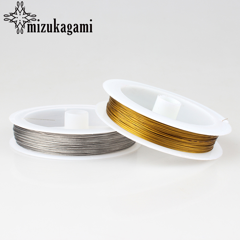 Free Shipping 1ROLL Golden Silver Tiger Tail Beading Wire 0.45mm 0.38mm 1.0mm 1pcs/lot For DIY Necklace Jewelry Accessories