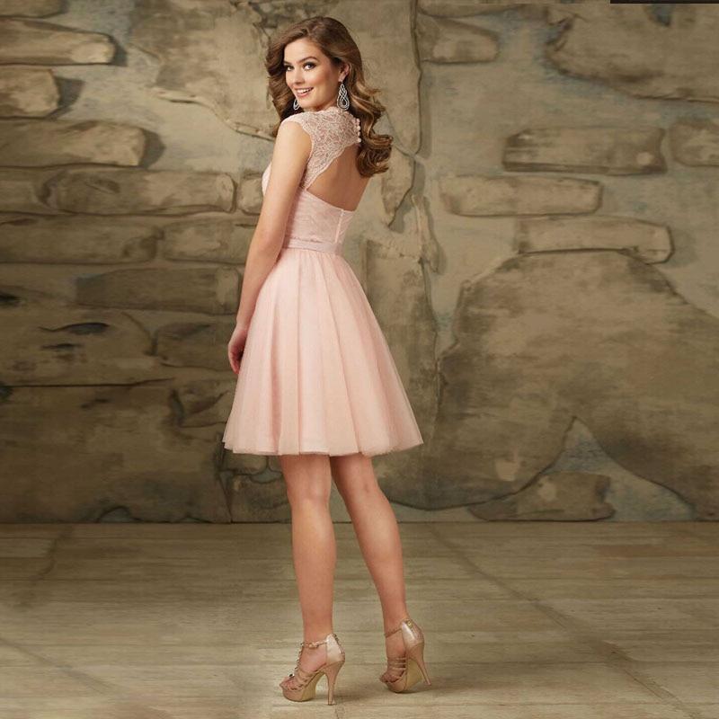 Aliexpress.com Comprar 2016 nueva moda corto de baile rosa Sashes longitud de la rodilla vestidos fiesta de encaje elegante importado vestido de fiesta