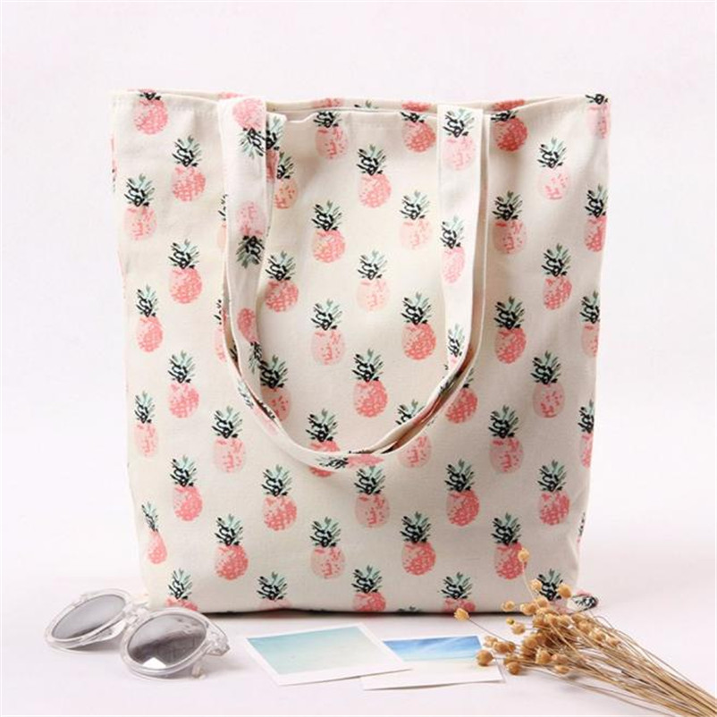 2018 Fresh Cartoon Fruit Pineapple Printed Canvas Cotton Tote Bags Eco Shopping Beach Bags Women Girl Shoulder Handbag new woman shoulder bags cute canvas women big bags literature and art cartoon girls small fresh bags casual tote