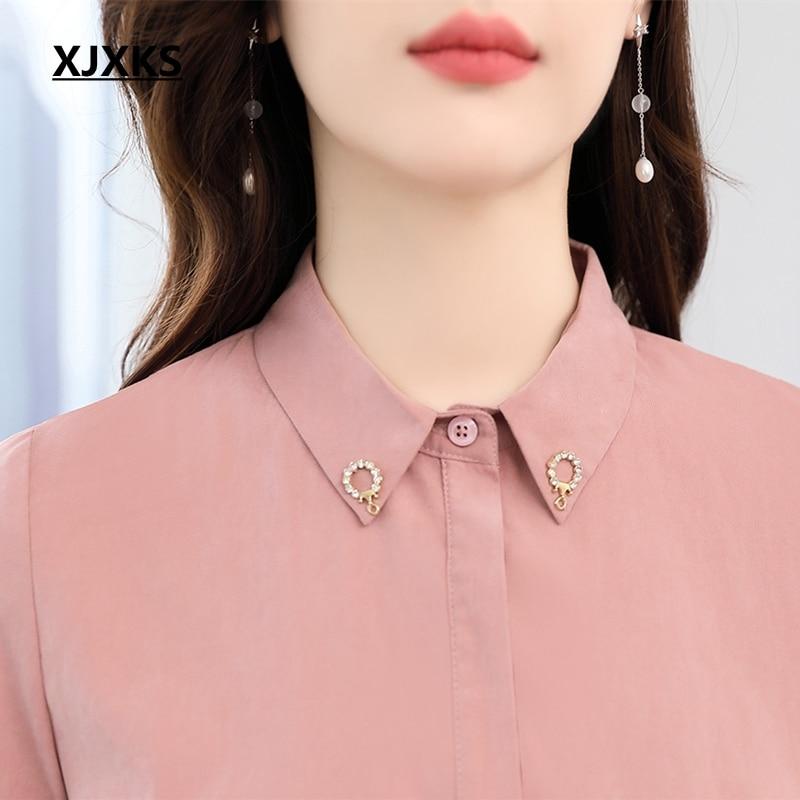 XJXKS 2019 nouveau Srping mousseline de soie solide col rabattu femmes chemise robe couture taille Vestidos femmes robes - 3