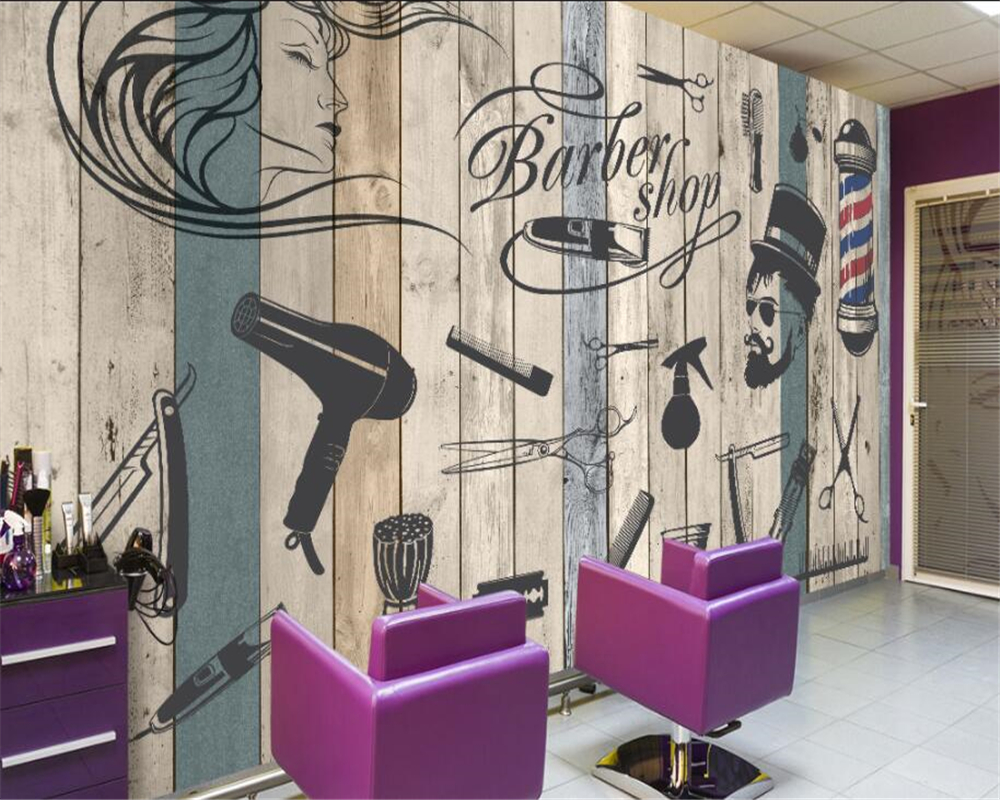 Us 8 85 41 Off Beibehang Custom 3d Wallpaper Vintage Barbershop Beauty Salon Background Wall Painting Wallpaper For Walls 3 D Papel De Parede In
