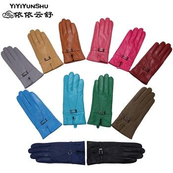 100% schaffell Handschuhe für Frauen Marke Warme Einfarbig Weibliche Echte Schafe Leder Handschuhe Dame Mode Party Handschuhe