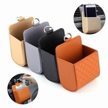 Car Storage Bag Air Outlet Dashboard Hanging Box PU Leather Seat Back Tidy Coin Organizer Mobile Phone Holder Car-Styling