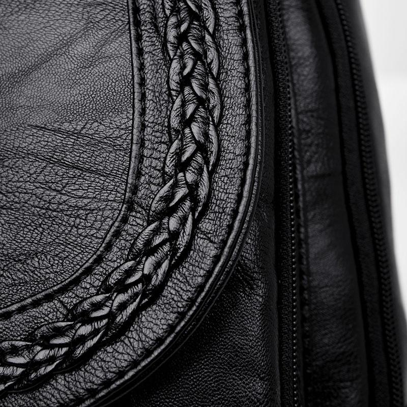HTB1bmH7FXuWBuNjSszbq6AS7FXai Women Leather Backpacks Zipper Female Chest Bag Sac a Dos Travel Back Pack Ladies Bagpack Mochilas School Bags For Teenage Girls