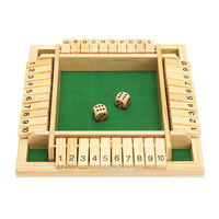 Wooden Traditional Four Sided 10 Numbers Pub Bar Board Dice Game Set Kids Family Christmas Gift