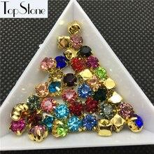5 мм, 6 мм, 8 мм, пришитые Стразы, заостренные сзади, стеклянные чатоны с золотым коготком, ss28, для шитья, стеклянные хрустальные камни, смешанные цвета