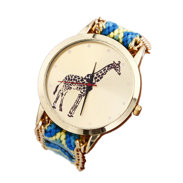 Dropshipping Women Weaved Rope Band Bracelet Watches Fashion Casual Giraffe Wris