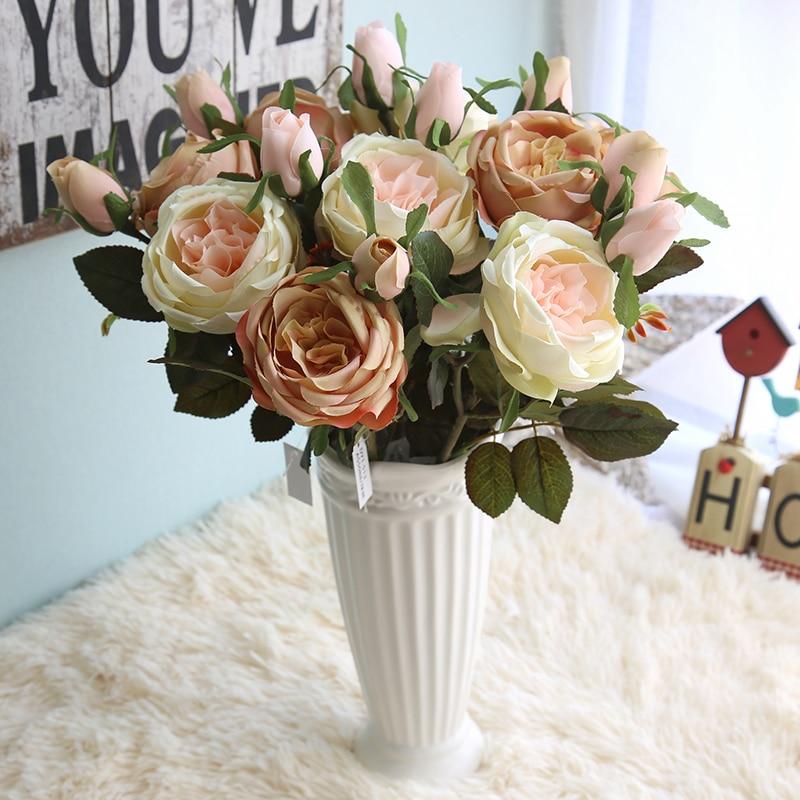 YO CHO Wedding Bouquet Bridesmaid Rose Artificial Silk ...