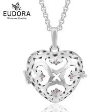 Cristal amour coeur collier bijoux médaillon pendentif Cage fit pour 18mm boule intérieure femme collier femmes bijoux en gros 5 PC