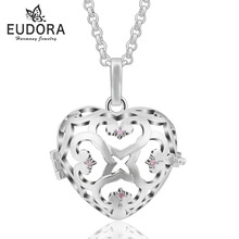 Crystal Love Heart Necklace Jewelry Locket Pendant Cage fit for 18mm Inner Ball Female Necklace Women Jewelry Wholesales 5PC