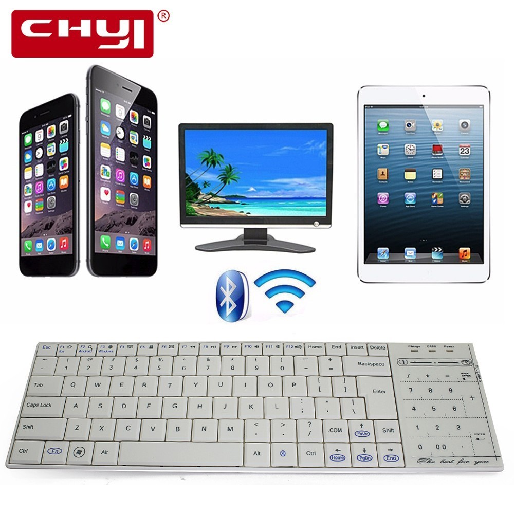 лучшая цена CHYI Genuine Bluetooth 3.0 RF Wireless Keyboard With Touchpad mouse Ultra Slim Mini Touch Pad For PC Smart TV IPTV Android TV