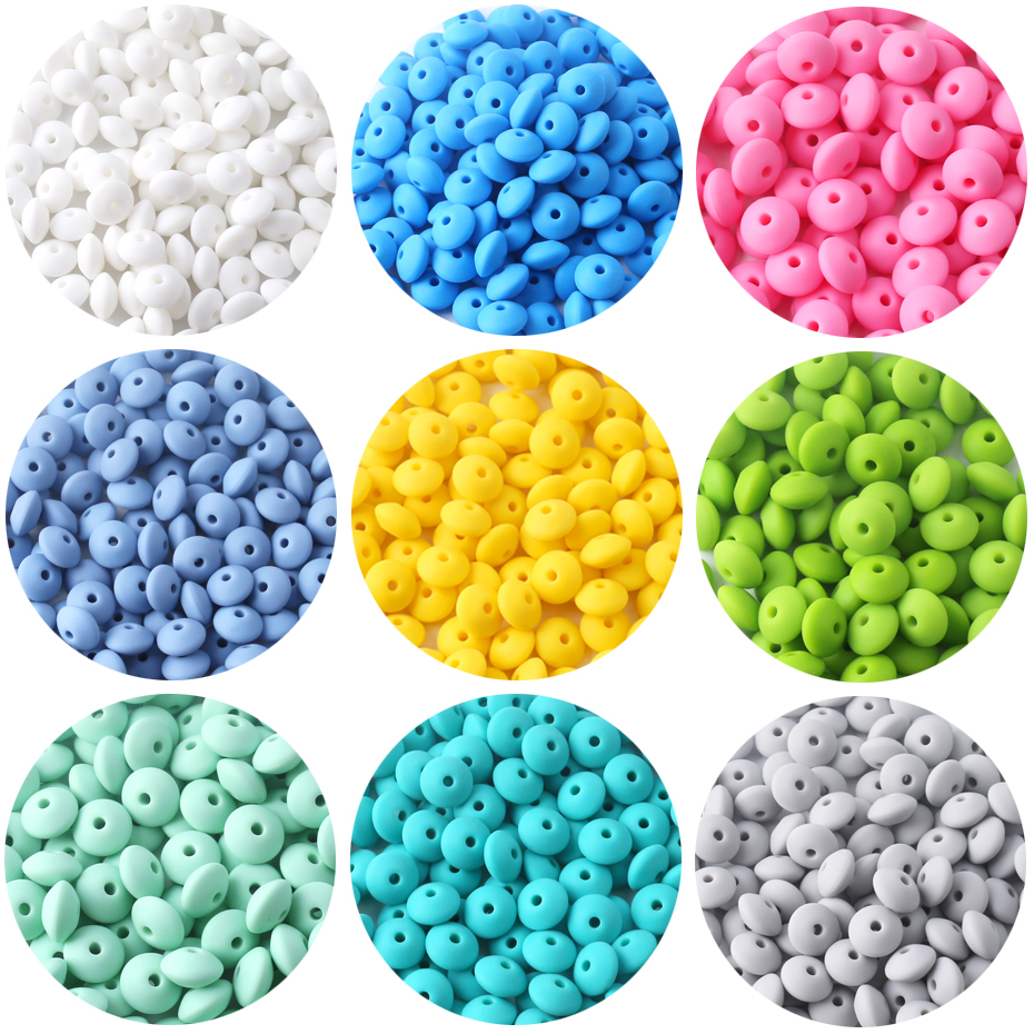 Lentil Silicone Teether 12mm 40pcs Silicone Beads DIY Bead Teething Nursing Necklace Food Grade Silicone Abacus Beads Let's Make