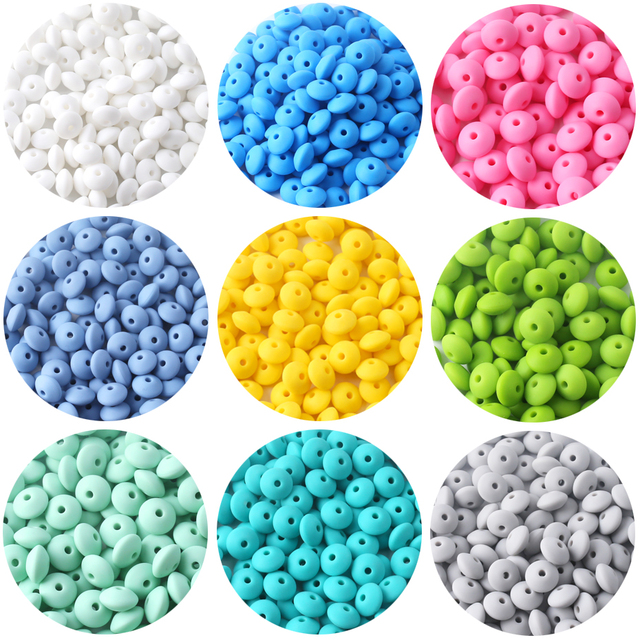 Pearl Silicone Teether 12mm 60pcs Silicone Beads DIY Bead Teething Nursing Necklace Food Grade Silicone Abacus Beads Let's make