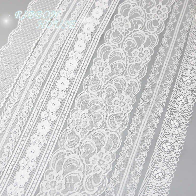 White lace fabric Webbing Decoration Love gift packing ribbon Material (5 yards/roll)
