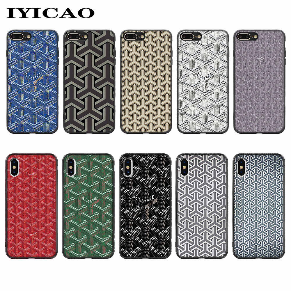 brand new 2cd87 d9368 IYICAO Goyard Design Colourful Soft Silicone Case for iPhone XS Max XR X 8  7 6 6S Plus 5 5s se