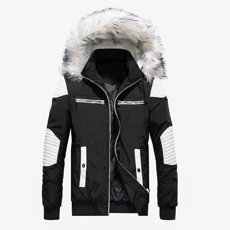 Autumn Winter Jacket Men 2019 New Big Fur Hooded Thick Warm Mens Winter Coats Patchwork Color Windproof   Parka   Men Outwear
