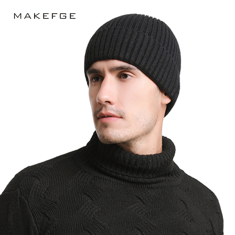 Autumn And Winter New Men's Knitted Cotton Hats Warm And Comfortable Solid Color Fashion Ski Caps Men's And Women's Skullies