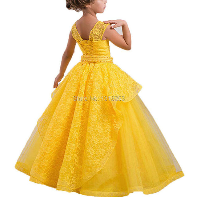 21cfa4ba68a US $69.0  Organza Lace Flower Girl Princess Ball Gown Yellow White First  Communion Girls Formal Gown Wedding Party Teens Birthday Pageant-in Flower  ...