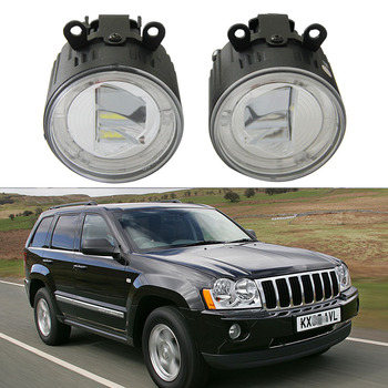 9CM Round Led Fog Light Headlight 10W Cree chips With Halo ring DRL Lamp For Jeep Grand Cherokee WH (2005-2008) Led Drl daylight