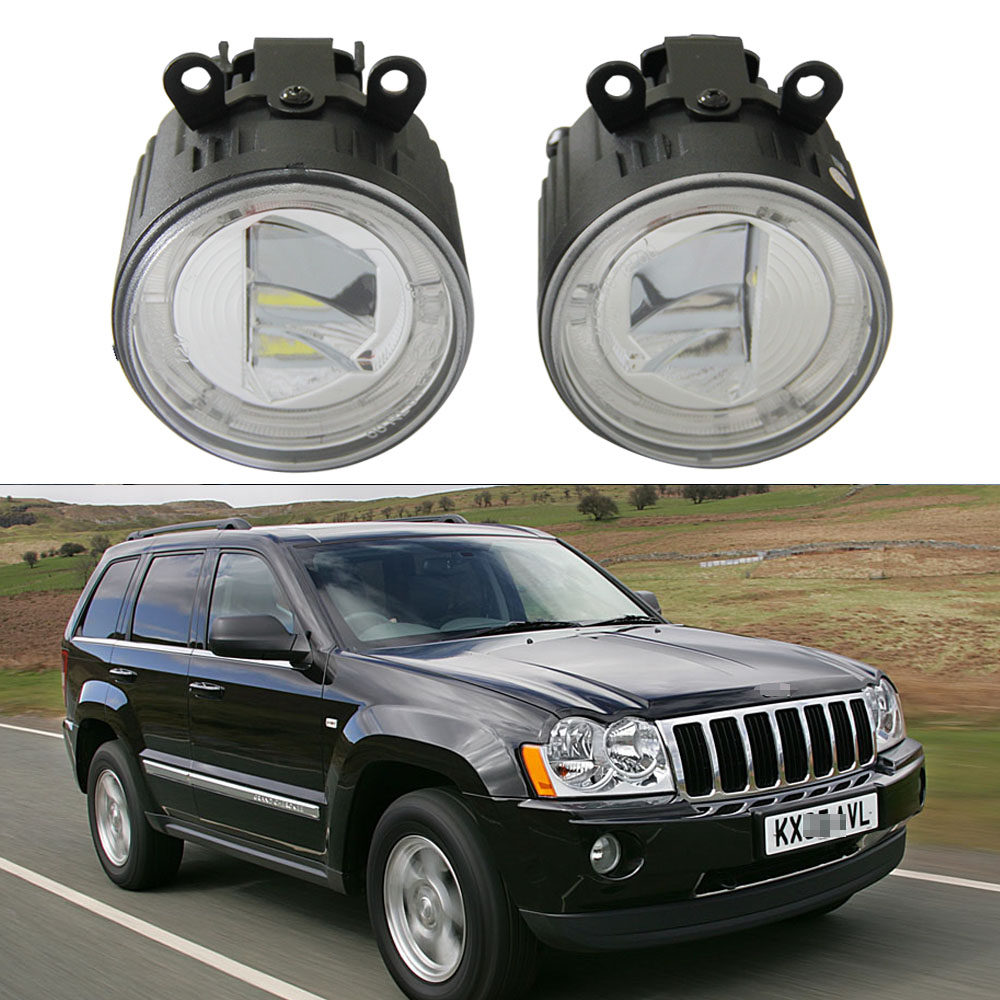 9CM Round Led Fog Light Headlight 10W Cree chips With Halo ring DRL Lamp For Jeep Grand Cherokee WH (2005 2008) Led Drl daylight