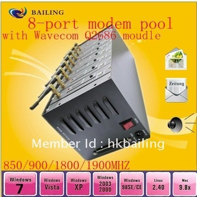 New sale! free shipping,Industrial GPRS/GSM Mini 8 card slots modem pool  with Q2686 module(RS-232/USB )
