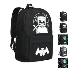 MeanCat marshmello Oxford Backpack Avicii School Bags DJ Alone Fade Alan Walker Backpacks with Night Light Version