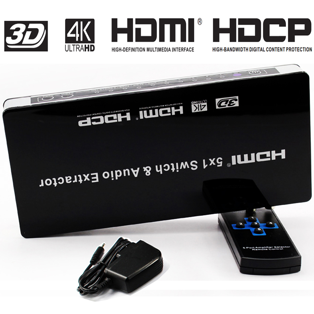 US $36 45 41% OFF|HDMI Switch 5x1 Audio Extractor 5 Port hdmi switcher 4K x  2K@30hz with ARC & IR Wireless Remote Control Full HD 1080P on