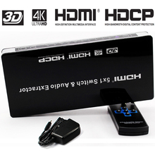 HDMI Porta hdmi switcher Interruptor 5×1 Extrator De Áudio 5 4 k x 2K @ 30 hz com ARC & IR Controle Remoto Sem Fio Full HD 1080 p