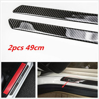 2x Universal Car Scuff Plate Door Sill Panel Step Protector Carbon Fiber Guard Durable Quality