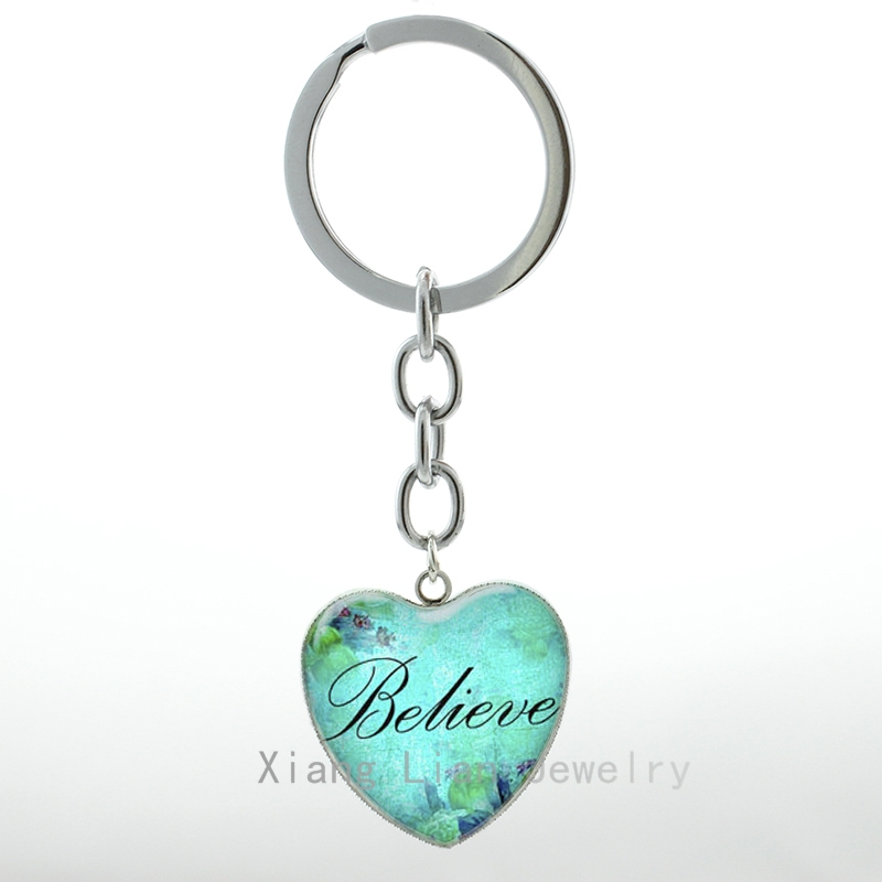 Romant Heart Shape Pendant Believe Heart Keychain Keyring Faith Hope Love Charm Word Believe Women Jewelry Key Chain Ring H In Key Chains From Jewelry