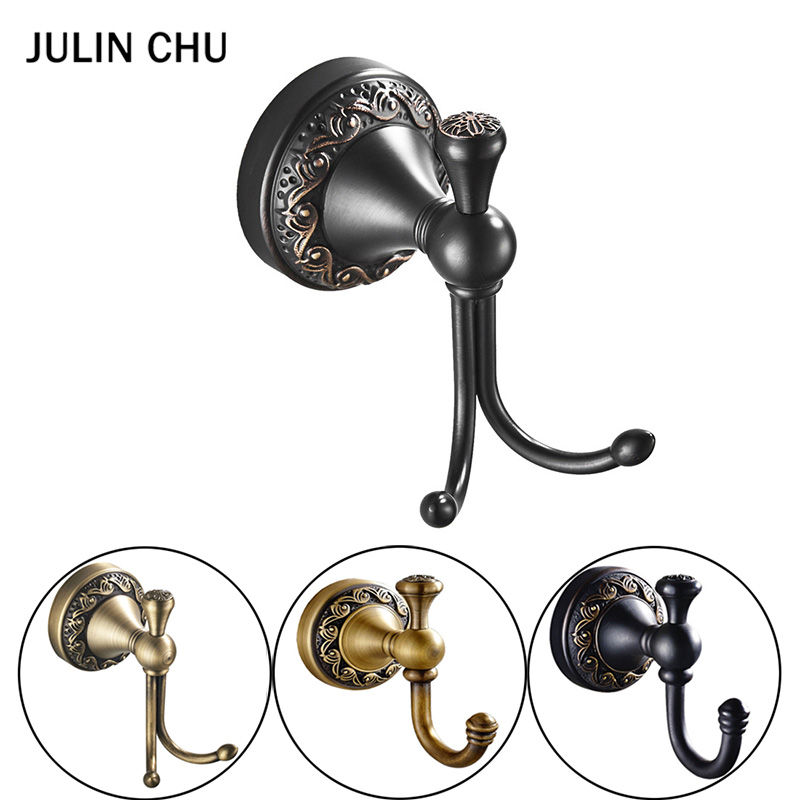 Antique Double Bathroom Hook Wall Mounted Black Coat Hooks Brass Vintage Single Bronze Clothes Towel Key Hook Bathroom Hardware bathroom hook european retro copper bathroom bathroom hanging clothes double hook single wall hanging coat hook