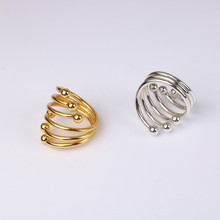 6PCS metal stainless steel napkin ring six beads spring napkin ring