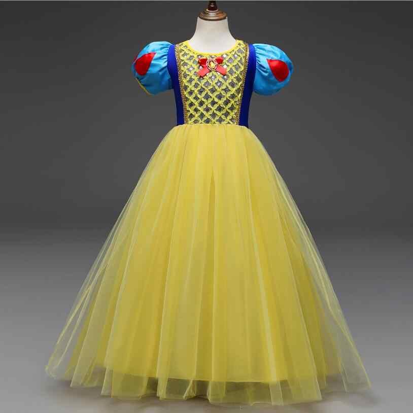 Платье принцессы для девочек детская одежда Костюмы для уборки снега белое платье косплей на Хэллоуин, Рождество карнавальный костюм для девочек детские праздничные платья